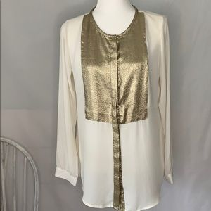 Express Cream & Gold Metallic Button Down Shirt